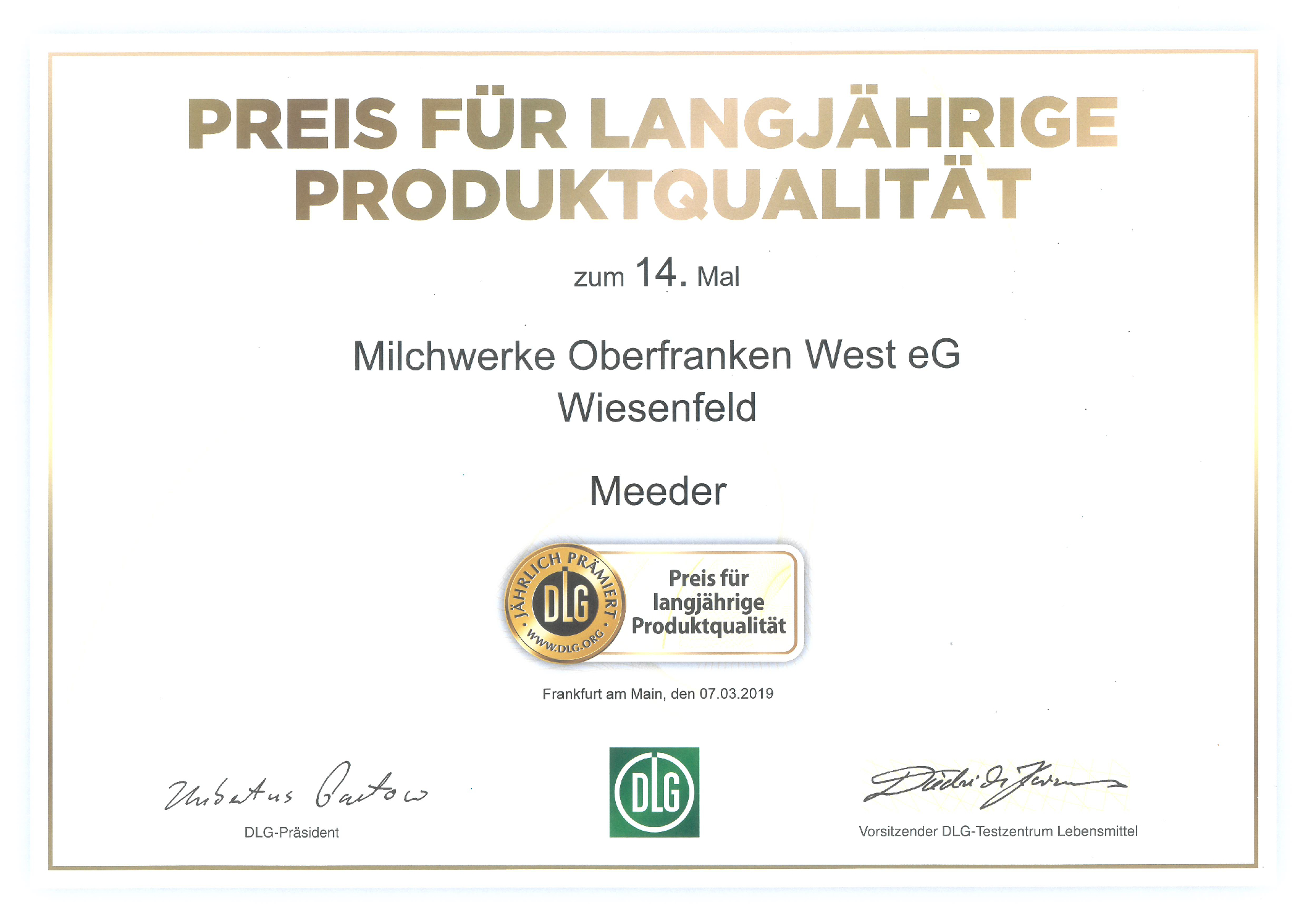 Milchwerke Oberfranken West aus Meeder erhält Preis für langjährige Produktqualität